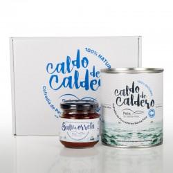 2 Latas 850g + 2 Tarros Salmorreta Caldo de Caldero 100% Natural Concentrado Peix de Santa Pola